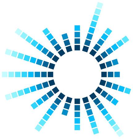 Abstrakter Audiospektrumwellenform-Quadratskreis lokalisiert auf weißem Hintergrund