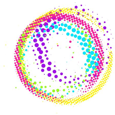 Abstract colorful pop-art halftone paintbrush swirl circle isolated on white background Standard-Bild
