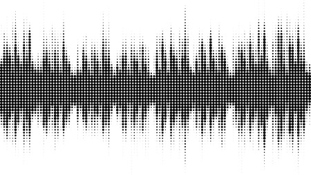 Abstract audio spectrum waveform halftone isolated on white background