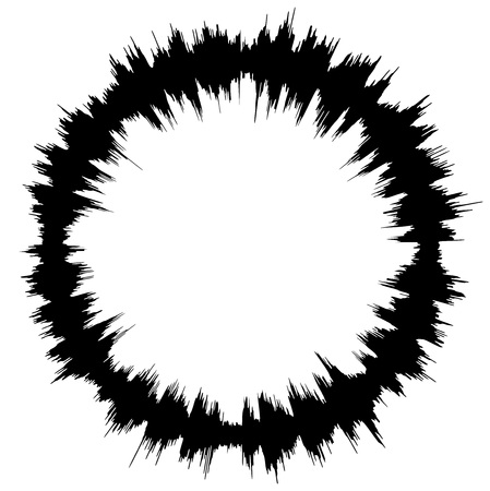 Abstract audio spectrum waveform circle isolated on white background