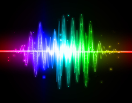Abstract rainbow audio spectrum waveform on black background