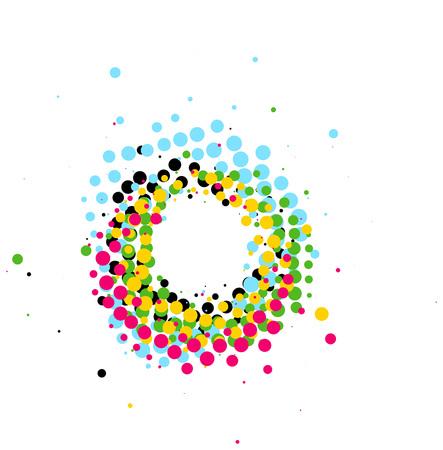 Abstrakter bunter Knallpinsel-Strudelkreis der Pop-art lokalisiert auf weißem Hintergrund