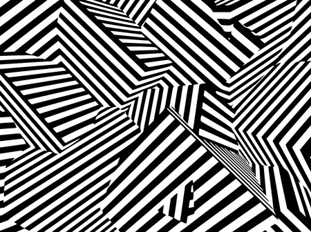 Abstract black and white striped optical illusion. Three dimensional geometrical boxes pattern illustration. Illustration