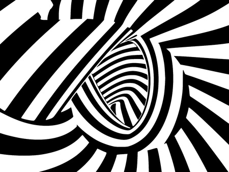 Abstract black and white striped optical illusion. Three dimensional geometrical shapes pattern illustration.