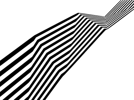 Abstract black and white stripes bent ribbon geometrical shape isolated on white background Illustration