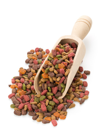 Heap of dry pet food in wooden scoop over white background