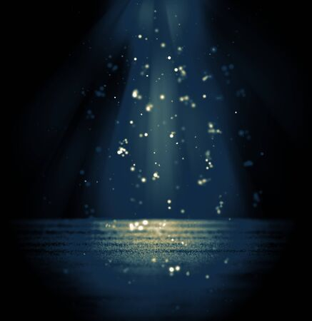 Suspense or drama background glitter and dust bokeh lights shine vintage toned blue and yellow