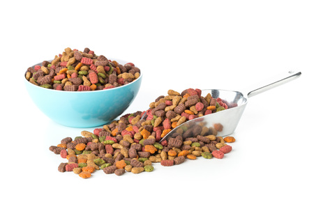 Heap of dry pet food in metal scoop and blue plastic bowl over white background Stock Photo