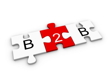 B2B, business to business, concept on connected red and white jigsaw puzzle pieces over white background. 3D computer graphic illustration