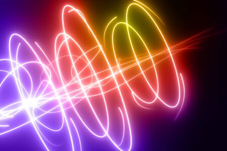 Curved, rainbow colored glowing lines curves and circles design element illustration on black background Stock Photo