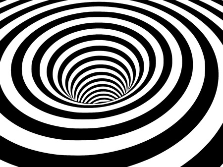 Abstract black and white striped optical illusion three dimensional geometrical wormhole shape pattern illustration