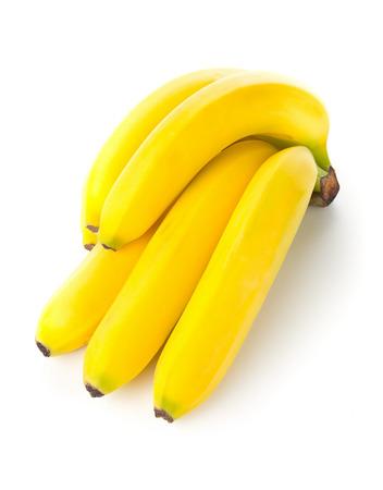 Bundle of fresh, yellow, ripe bananas over white background