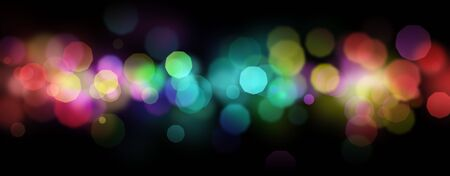 Rainbow colored shiny defocused abstract light bokeh background over black