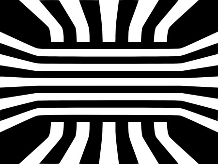 Abstract black and white striped optical illusion three dimensional geometrical cube room pattern illustration Standard-Bild