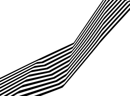 Abstract black and white stripes bent ribbon geometrical shape isolated on white background Standard-Bild