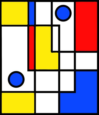 Abstract yellow, blue and red neo-modern cubic and circles geometric pattern