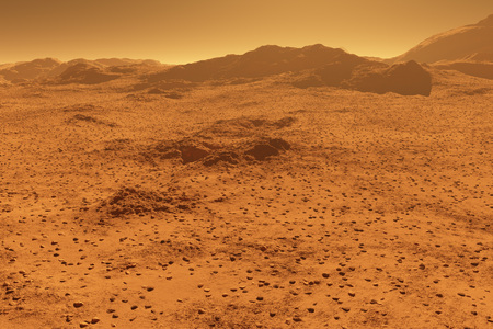 Mars - red planet - landscape with mountains in the distance - 3D illustration Foto de archivo