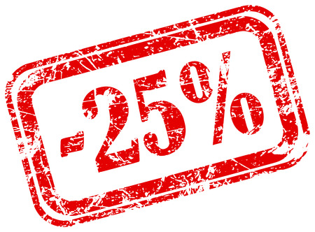25 percent off marketing deal offering grunge red rubber stamp label isolated on white background