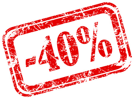 40 percent off marketing deal offering grunge red rubber stamp label isolated on white background 일러스트
