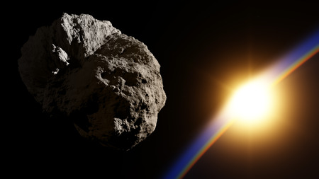 Huge asteroid in space approaching planet with sunrise  - 3D illustration