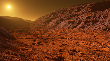 Mars - the red planet - landscape with mountains with sedimentary rock layers during sunrise or sunset - 3D illustration