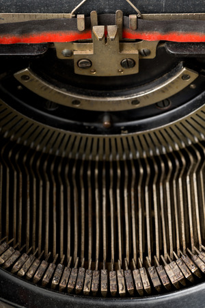 Close up of vintage typewriter letters with selective focus