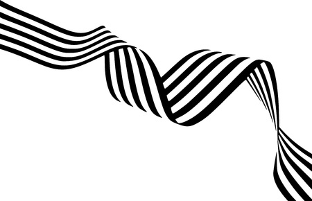 Abstract black and white stripes smoothly bent ribbon geometrical shape isolated on white background