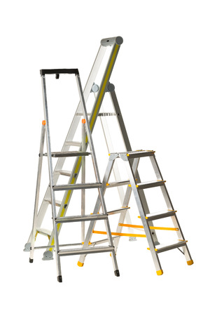 Three aluminum folding metal step ladders isolated on white background