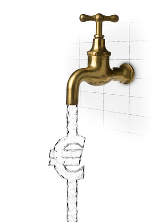 Water flow from water tap or faucet forming euro sign over white background - water cost or waste concept