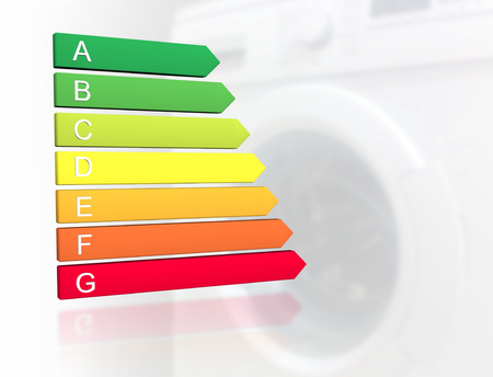 New 2019 european energy efficiency classification label with classes from A to G in front of washing machine background Stock fotó
