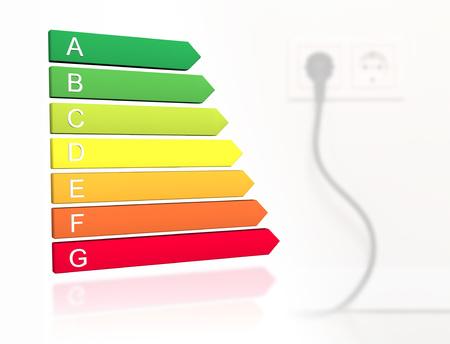 Nueva etiqueta de clasificación europea de eficiencia energética de 2019 con clases de la A a la G delante del cable enchufado al fondo del enchufe de pared
