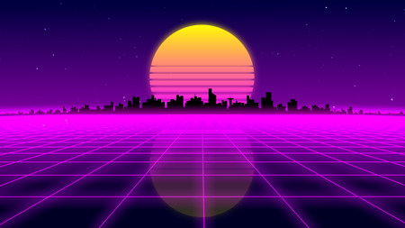 Retro 1980s synthwave glowing neon lights plane with sun and city skyline - 3D illustration