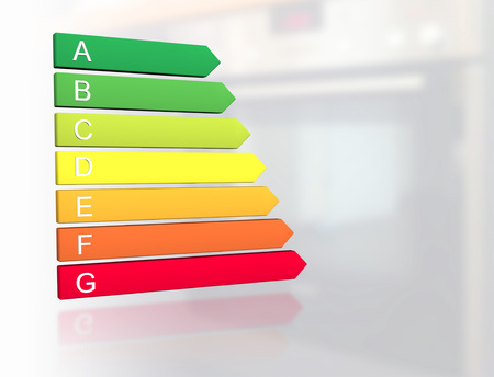 New 2019 european energy efficiency classification label with classes from A to G in front of electric oven kitchen appliance