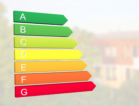 New 2019 european energy efficiency classification label with classes from A to G in front of home building background