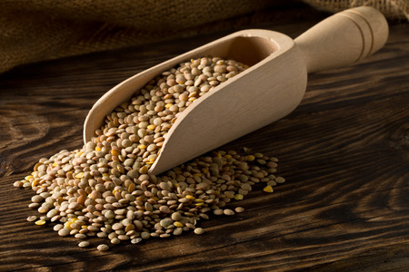 Raw, dry, uncooked brown lentil legumes in wooden scoop on rustic wood table background with selective focus