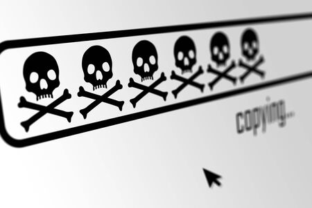 Download or copy progress bar made from skulls in web browser display with mouse cursor - software piracy, virus code or private data phishing concept