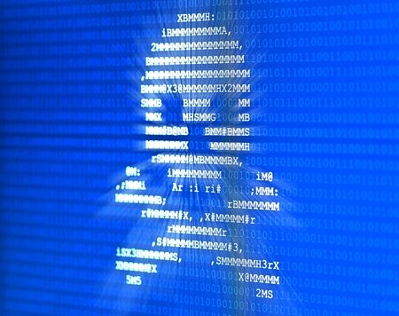Skull with bones made from letters on blue binary code overlay background on computer screen display - software piracy, computer virus or internet hacking concept