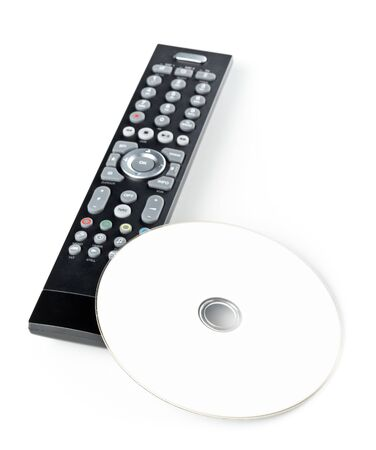 DVD, CD-ROM disc with tv or disc player remote control on white background. Home theatre movie or series concept.