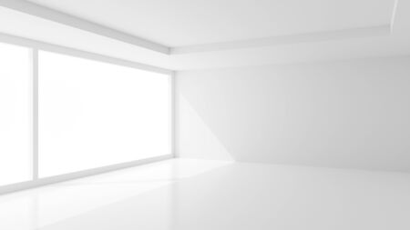 Open modern white room with large windows and soft sunlight - interior, gallery or product showcase template, 3D illustration