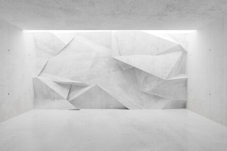 White modern concrete empty room with polygonal triangle abstract backwall lit from above - gallery or product showcase template, 3D illustration