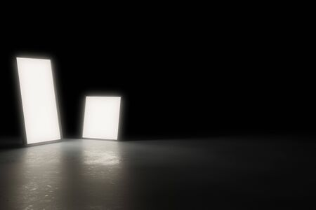 Two warm glowing rectangular light objects on shiny modern industrial concrete floor in large dark room with copy space - 3D illustration