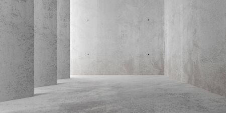 Abstract empty, modern concrete room with indirect lighting from side wall and rough floor - industrial interior background template, 3D illustration