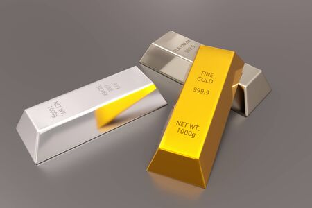 Gold, silver and platinum ingots or bars stacked over reflective silver colored background - precious metal or money investment concept, 3D illustration 版權商用圖片