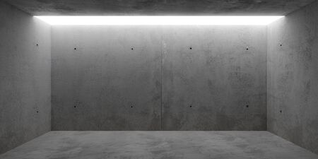 Abstract empty, modern concrete room with toplit grey backwall - industrial interior or gallery background template, 3D illustration Stockfoto