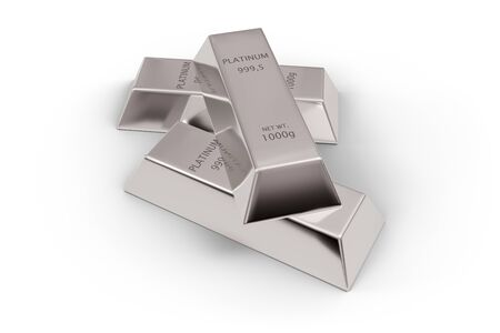 Three shiny platinum ingots or bars stacked over white background - precious metal or money investment concept, 3D illustration 版權商用圖片