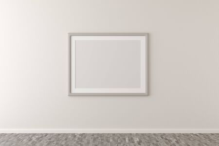 Empty picture frame hanging on white wall in bright room with brown wooden floor with copy space - portfolio, gallery or artwork template mock up - 3D illustration