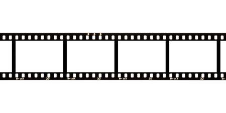 Bande de film négatif pour appareil photo analogique vierge et vide avec espace de copie pour les modèles d'image isolés sur fond blanc