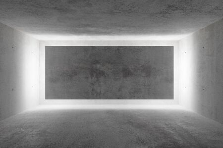 Abstract empty, modern concrete room with indirect lit backwall and rough floor - industrial interior or gallery background template, 3D illustration Stockfoto