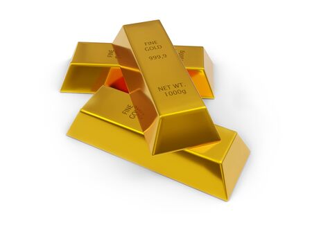 Three shiny gold ingots or bars over white background - precious metal or money investment concept, 3D illustration