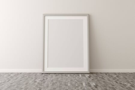 Empty picture frame leaning against white wall in bright room with brown wooden floor with copy space - portfolio, gallery or artwork template mock up - 3D illustration Stockfoto